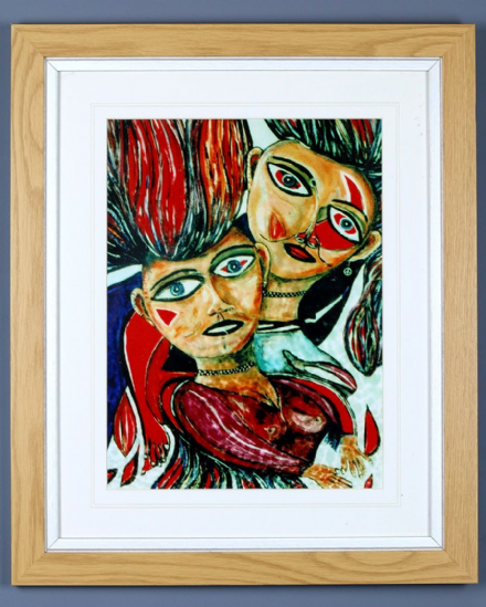 Young Couple Abstract Print by Dick Sneddon